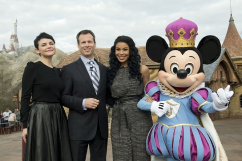 """""""Once Upon a Time"""" actress Ginnifer Goodwin, Walt Disney Parks & Resorts Chairman Tom Staggs, pop star Jordin Sparks, and a royal Mickey Mouse led the grand-opening ceremony."""
