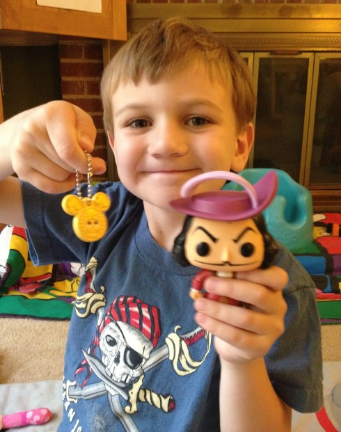 Robert with his Mickey waffle key chain and Captain Hook Pop! Vinyl
