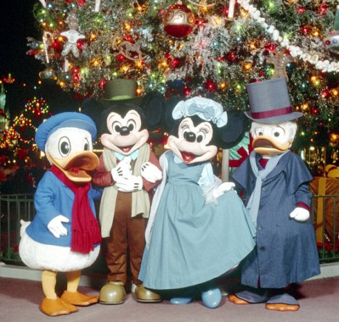 In December 1983, Mickey, Minnie, Donald and Scrooge McDuck made appearances at Magic Kingdom Park dressed as Bob Cratchit, Mrs. Cratchit, Nephew Fred and Ebenezer Scrooge.
