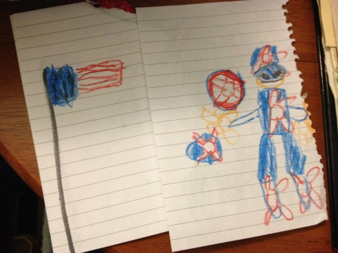 Robert made some patriotic drawings of Captain America