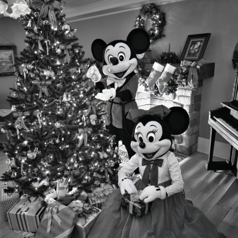 Mickey and Minnie trimming the tree at Walt Disney World Resort in the 1980s