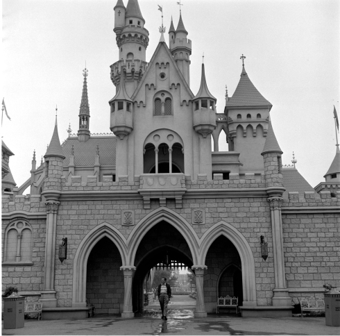 Walt Disney Walking Through Sleeping Beauty Castle
