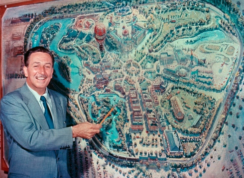 Walt Disney with Original Disneyland Map