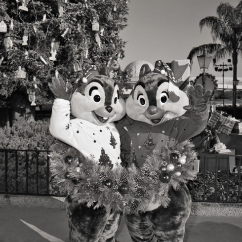 Chip 'n Dale decking the halls at Epcot in the 1980s