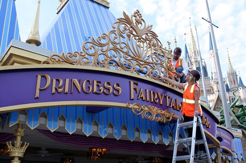 Princess Fairytale Hall Marquee is Unveiled at Magic Kingdom Park.  Read more about it on the Disney Parks Blog: http://shar.es/z9wFW