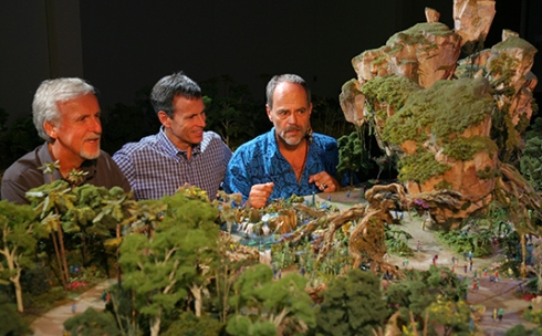 WDI's Joe Rohde (right) shares highlights of the project model with Cameron (left) and Walt Disney Parks & Resort Chairman Tom Staggs. Scheduled to open in 2017, the Avatar-inspired land will be part of the largest expansion in Disney's Animal Kingdom history.