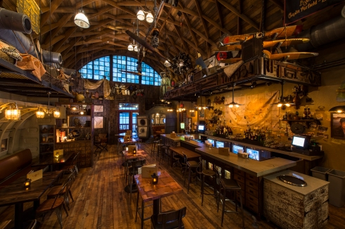 An aviation-themed lounge, Jock Lindsey's Hangar Bar features unique cocktails and small plates at its prime location along Lake Buena Vista. Ardent fans of the