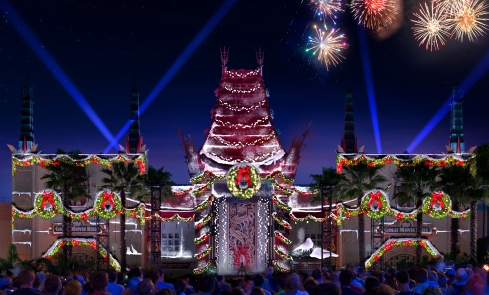 "The 2016 holidays season brings a all-new nighttime spectacular to Disney's Hollywood Studios with ""Jingle Bell, Jingle BAM!."" The facade of the Chinese Theater comes alive with state-of-the-art projections, and guests will experience special effects, fireworks and even snow on, above and around the theater. ""Jingle Bell, Jingle BAM!"" will run Nov. 14 to Dec. 31, 2016.  (David Roark, photographer)"
